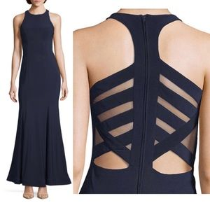 Navy Mermaid Gown with Cut-Outs